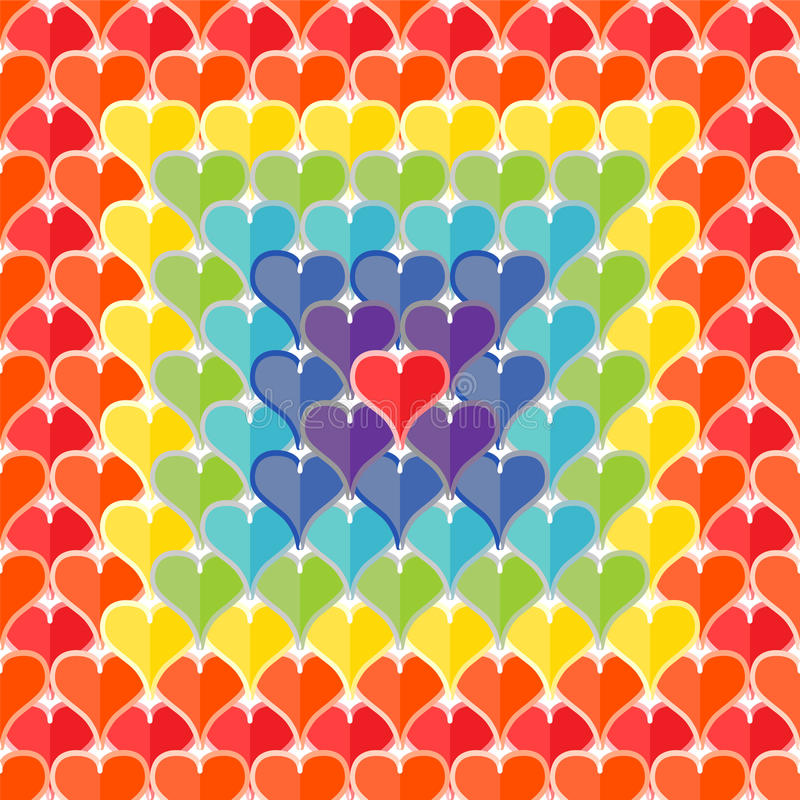 Seamless texture of hearts painted rainbow colors. royalty free illustration