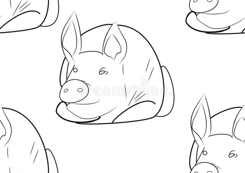 Seamless texture with hog close up on white background. Outline sketch. Simbol of 2019 year. Seamless texture with hog close up on white background. Sketch vector illustration