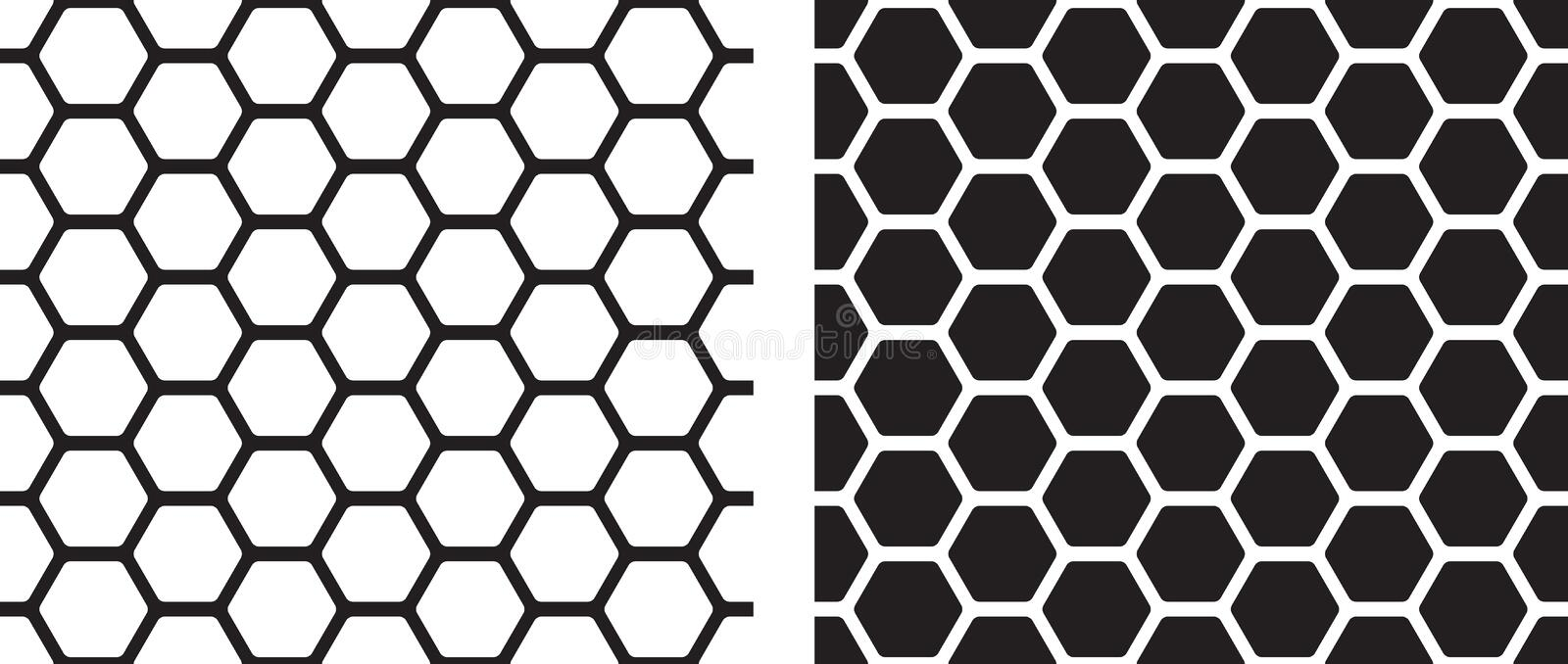 Seamless texture of honeycomb. Vector illustration of seamless texture of honeycomb in black and white colors royalty free illustration