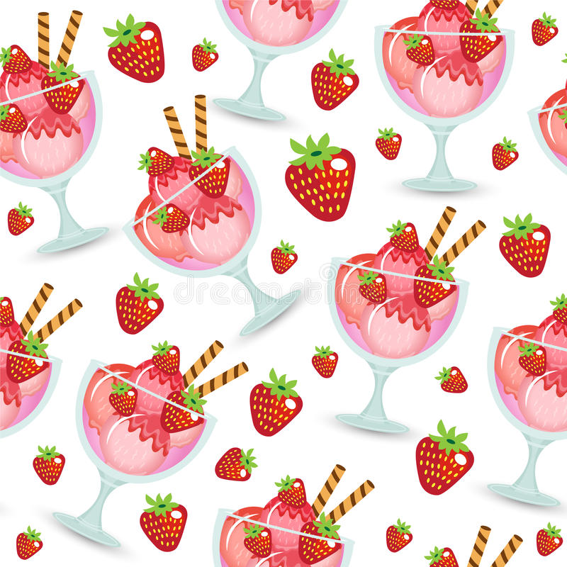 Seamless Ice Cream Background: Seamless Texture Of Ice Cream Dessert In A Glass Cup. Milk