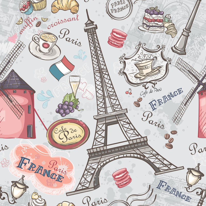 Seamless texture with the image of the sights of Paris vector illustration