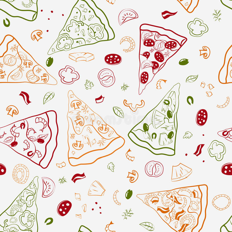 Seamless texture of image slices of pizza stock photos