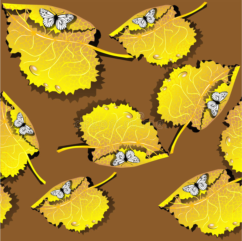 Download Seamless Texture With Leaves And Butterflies Stock Illustration - Illustration of nature, season: 34027444