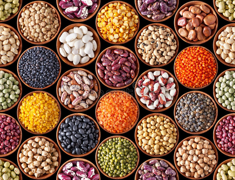 Seamless texture with legumes stock image