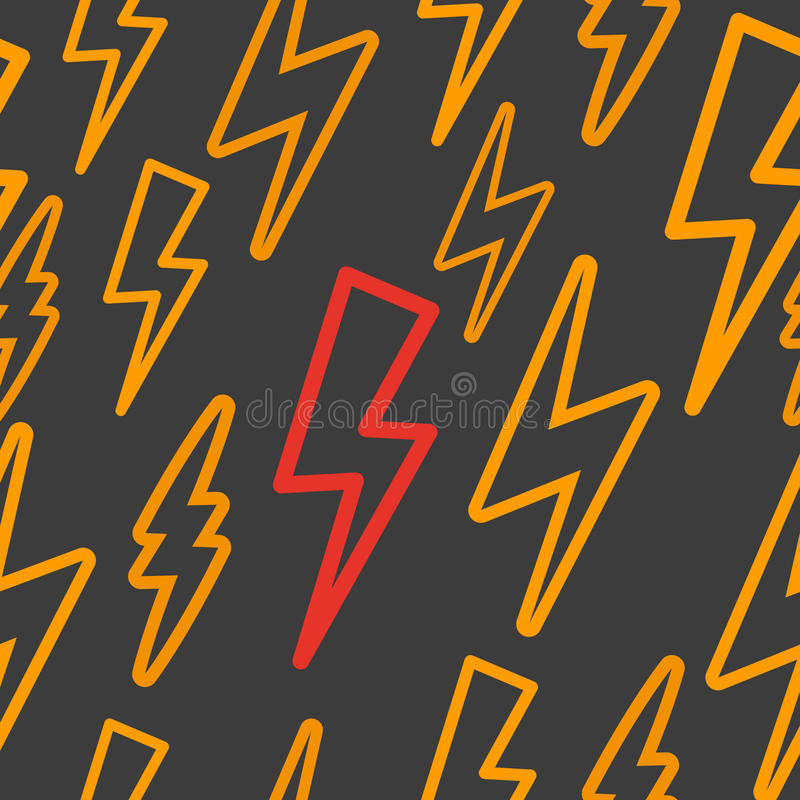Seamless texture with lightning. yellow. And red lightning on a black background stock illustration
