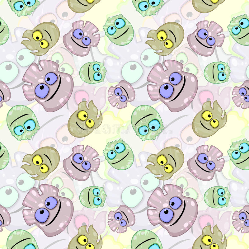 Download Seamless Texture With Little Monsters Or Germs Stock Vector - Image: 25698085