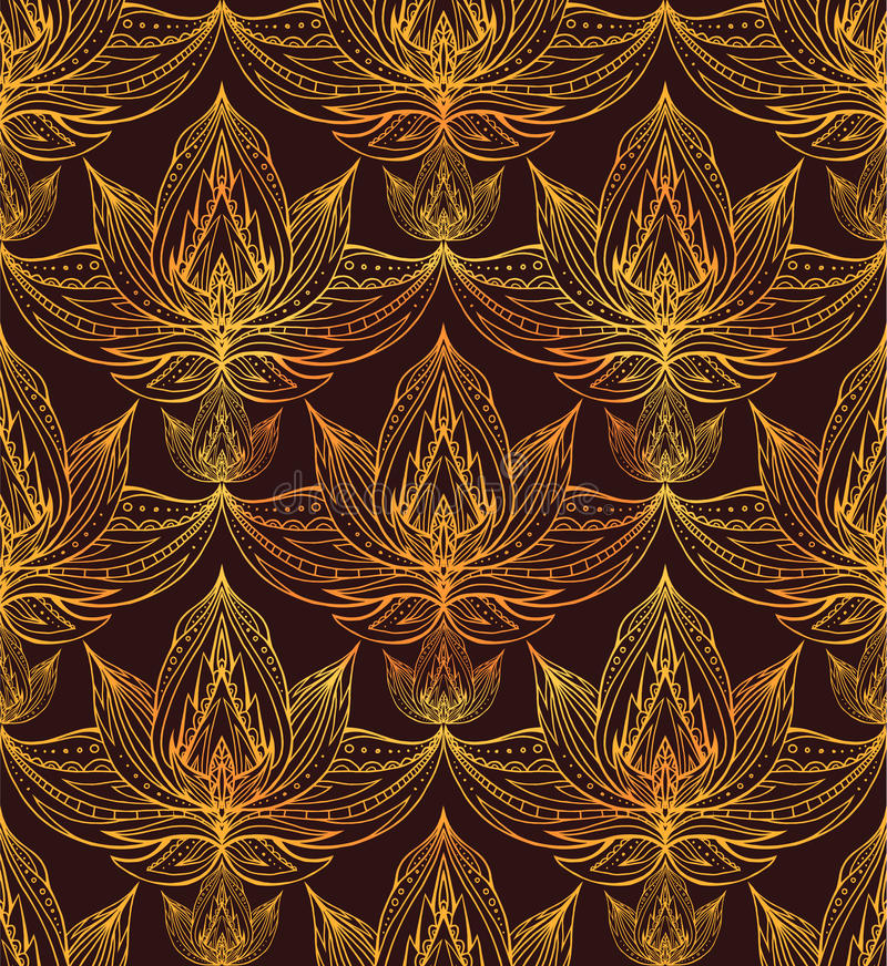 Seamless texture of lotus flowers with a boho pattern. Vector background for greeting cards, cards, and your creativity vector illustration