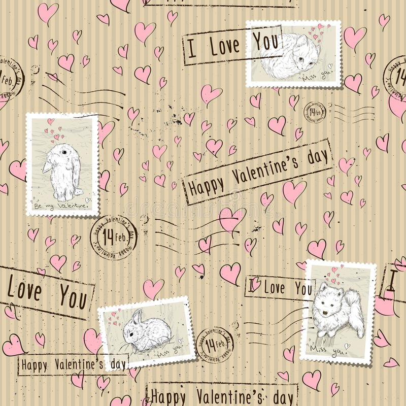 Seamless texture with love elements. Vector illustration EPS8 royalty free illustration