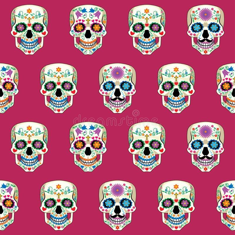 Seamless texture with Mexican skull Calavera. Vector seamless texture with colored Mexican skull Calavera on burgundy background stock illustration