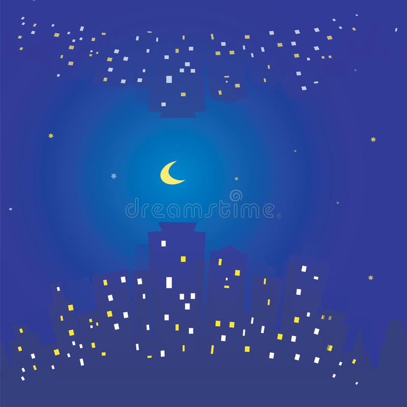 Free Seamless Texture Of Night City Sky Stars And Moon. Buildings And Light In Windows Royalty Free Stock Photo - 43706885