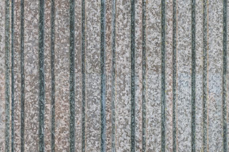 Seamless texture of old grey galvanized metal with stripe and spotted pattern, background stock image
