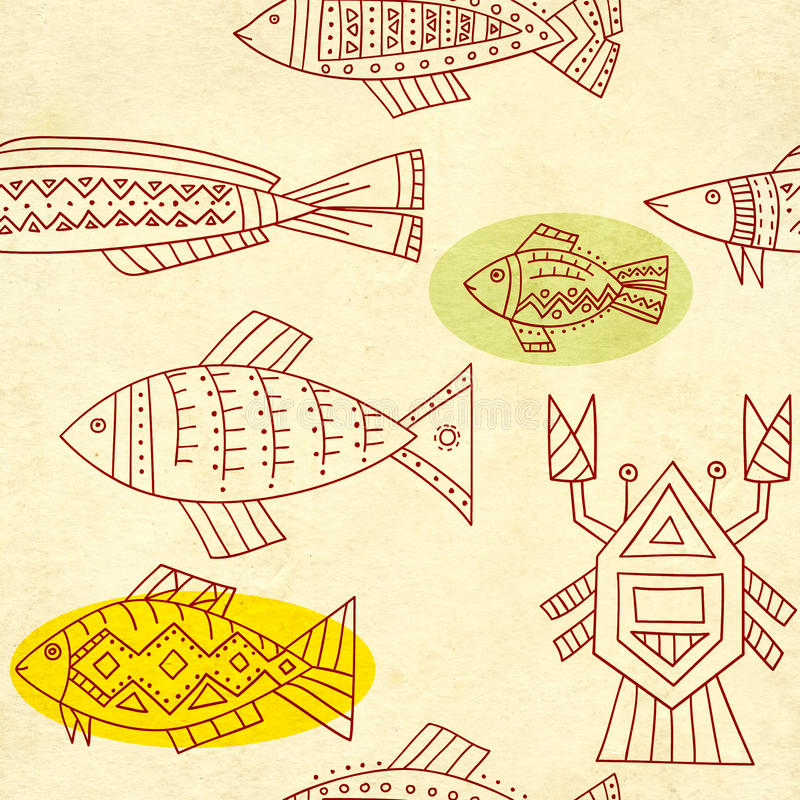 Seamless texture of old paper and ethnicity patterns. Seamless texture of old soiled paper and ethnicity patterns with fish and crab royalty free illustration