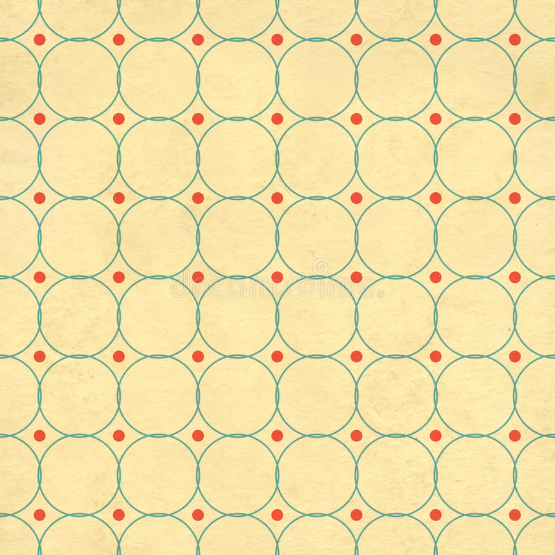 Seamless texture of the old paper with retro geometric ornamental pattern royalty free illustration