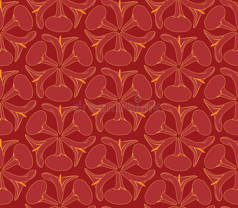 Seamless Texture With Outlined Decorative Flowers Royalty Free Stock Photos