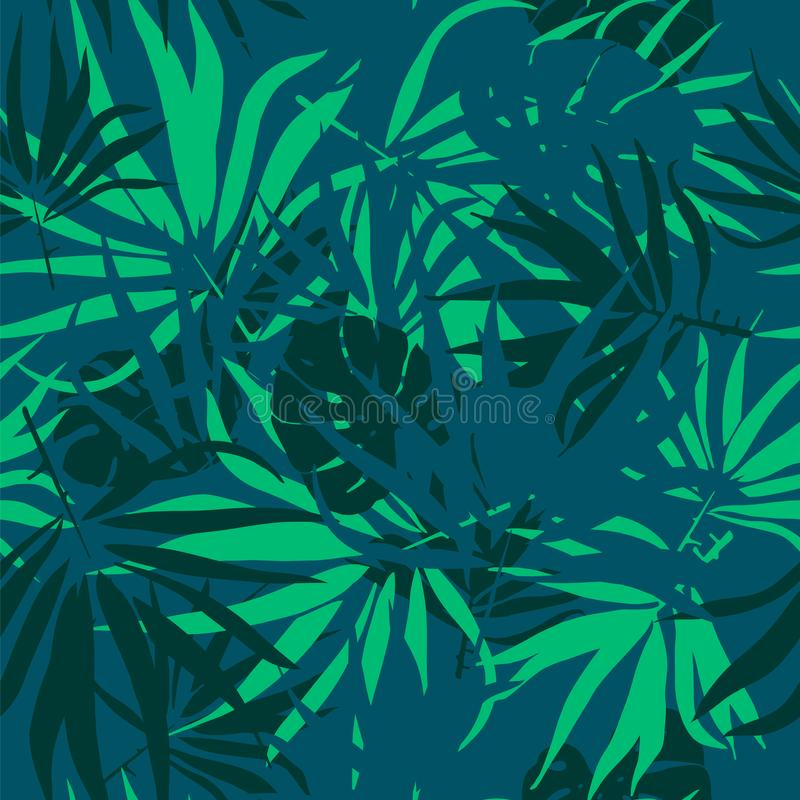 Seamless texture with palm tree leaf and monstera leaves. royalty free stock images
