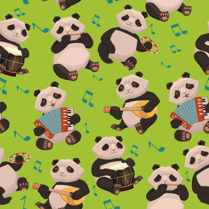 Seamless texture with pandas playing musical instruments. Vector graphics stock illustration