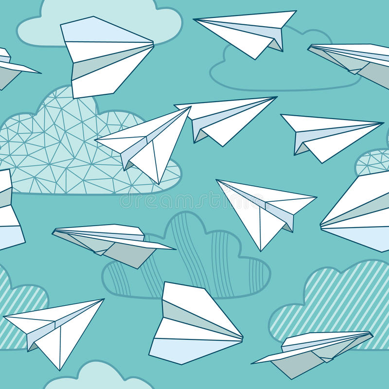 Seamless texture with paper planes. stock illustration