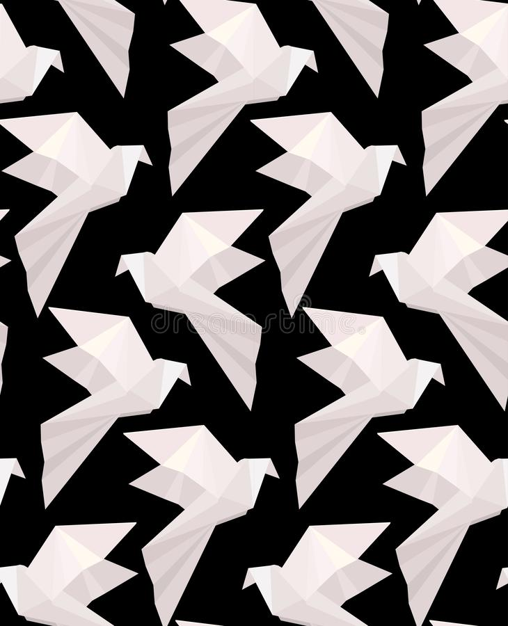 Seamless texture with paper white origami doves on a black background. Flying free birds. Vector 3d pattern royalty free illustration