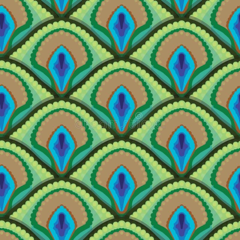 Seamless texture of peacock feathers stock illustration
