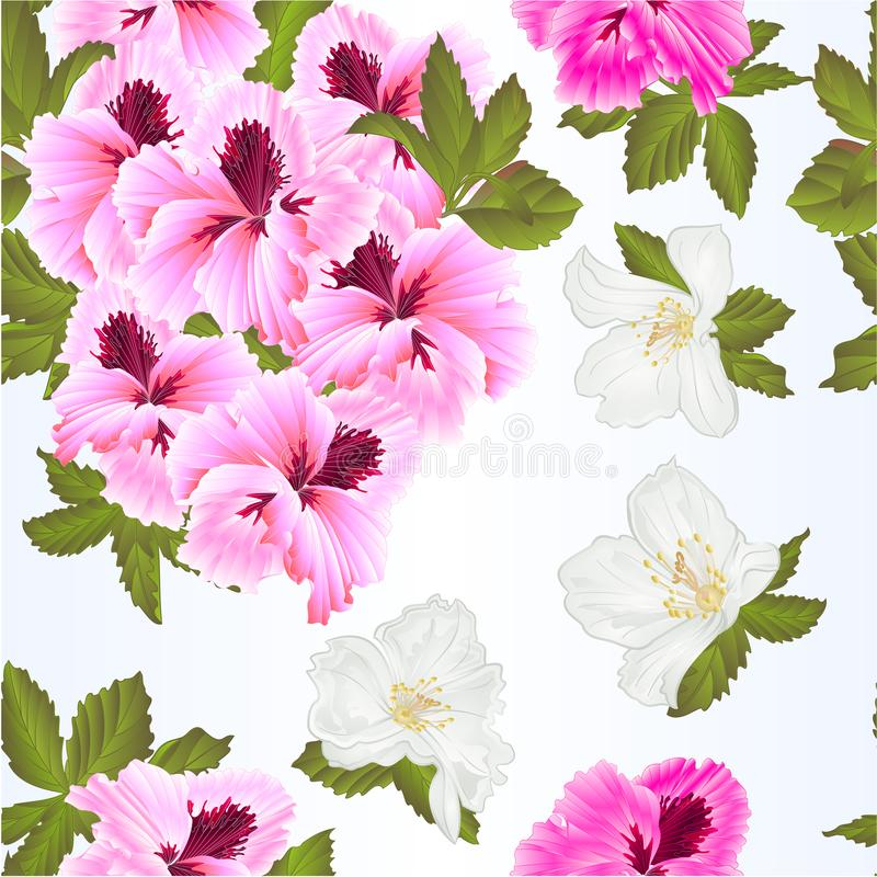 Seamless texture Pelargonium Geranium summer pink flowers and leaves and jasmine elements for design watercolor vintage vector i. Llustration editable Hand draw stock illustration