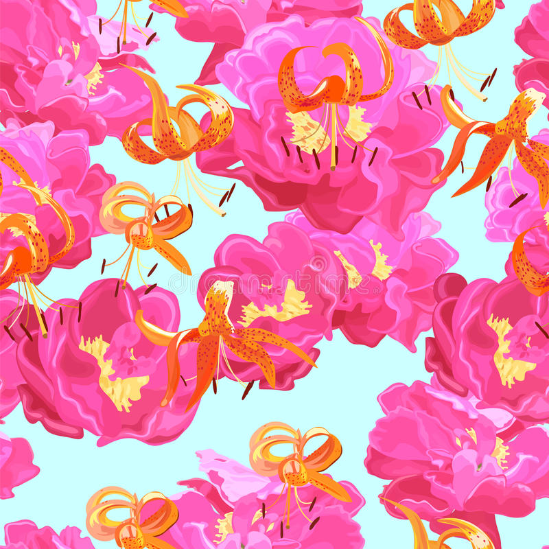 Download Seamless Texture Of Peonies And Lilies Stock Vector - Illustration: 24492180