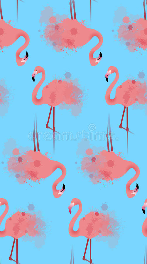 Seamless texture of pink flamingos with watercolor splashes vector illustration
