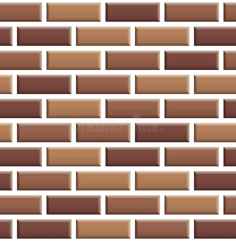 Seamless texture of red brick wall. Repeating pattern of brown stone with white seams background royalty free illustration