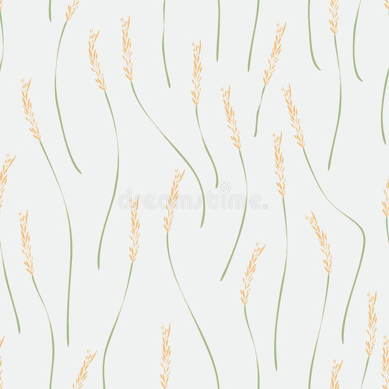 Seamless texture of ripe ears of cereals on a white background. For yur design stock illustration