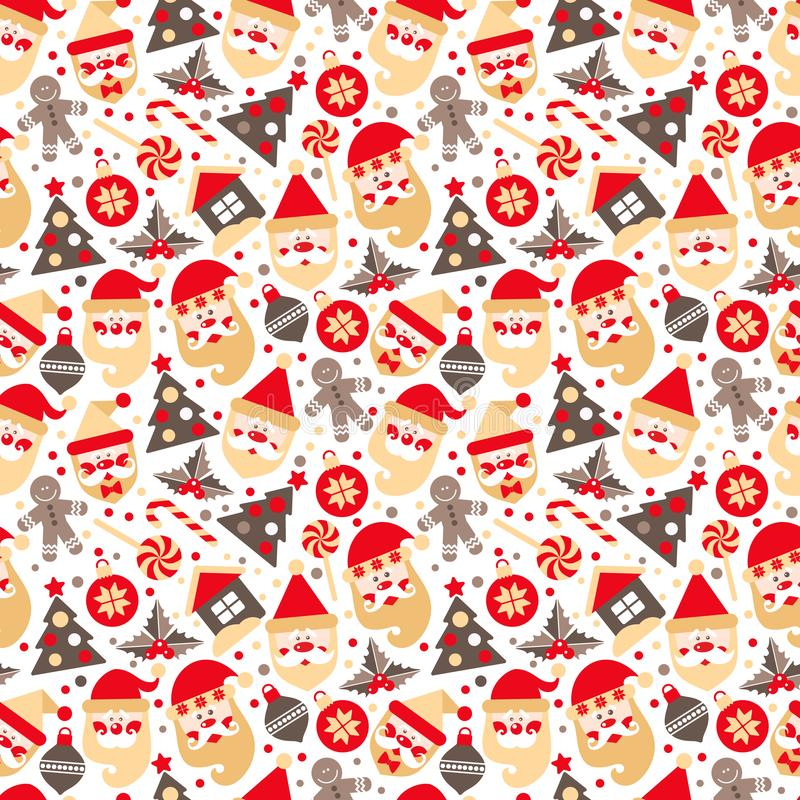 Seamless texture of Santa Claus with gifts tree and chrestmas elements stock image