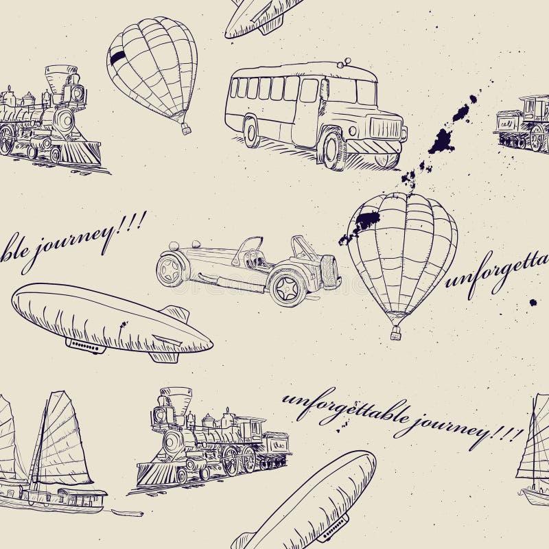 Seamless texture with set of vintage transport. Vector illustration EPS8 stock illustration