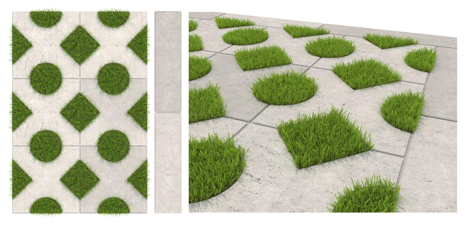 Seamless texture of sidewalk tile with holes for grass. Isolated landscape tiles on a white background. 3D visualization of paving vector illustration