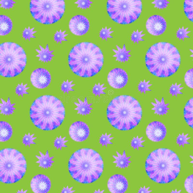 Seamless texture with snowflakes and stars pink and blue painted on a green background vector illustration