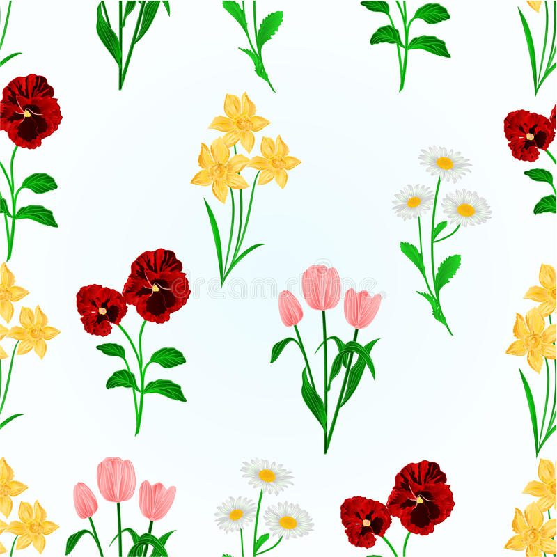 Seamless texture spring flowers daffodils pansiestulips and seamless texture spring flowers daffodils pansiestulips and daisies vintage vector botanical illustration hand draw editable mightylinksfo