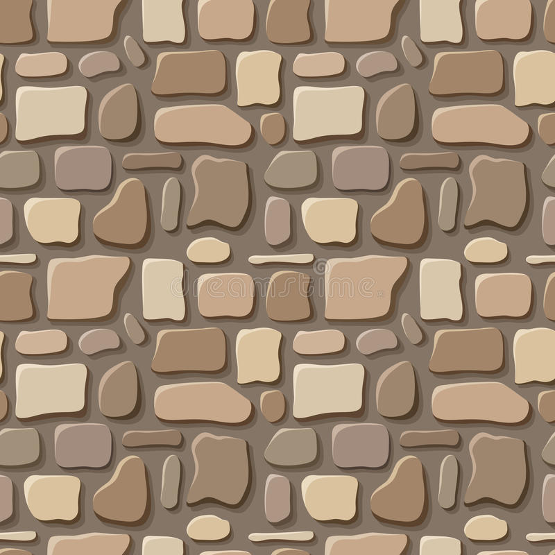 Seamless texture of stone wall. Seamless texture of beige and brown stone wall vector illustration