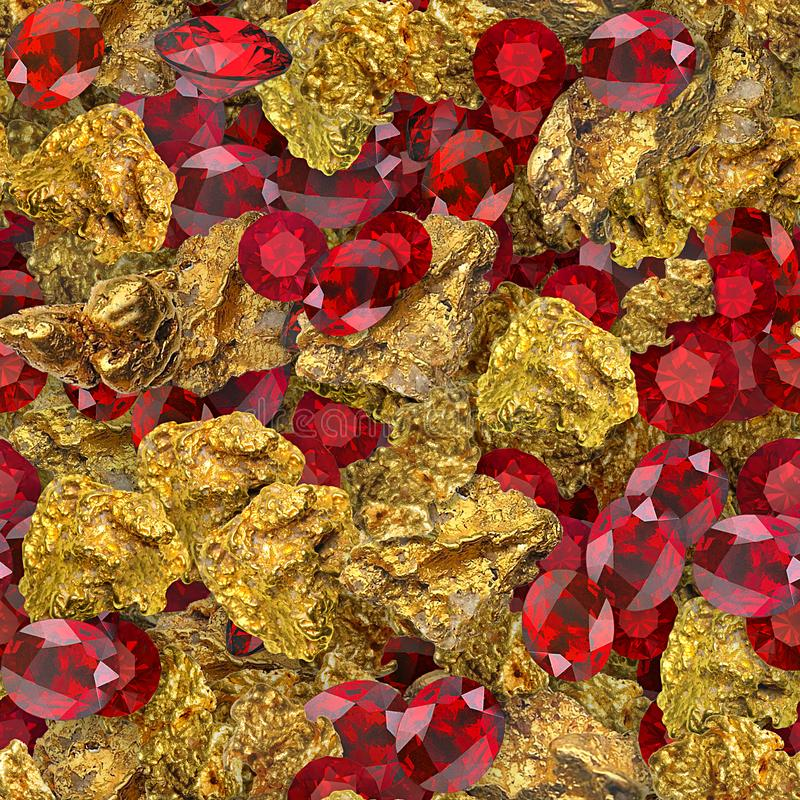 Gold Nuggets and Rubies Seamless Texture Tile royalty free stock photography