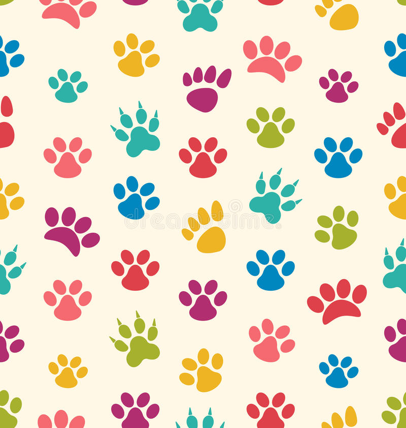 Seamless Texture with Traces of Cats, Dogs. Imprints of Paws Pet vector illustration