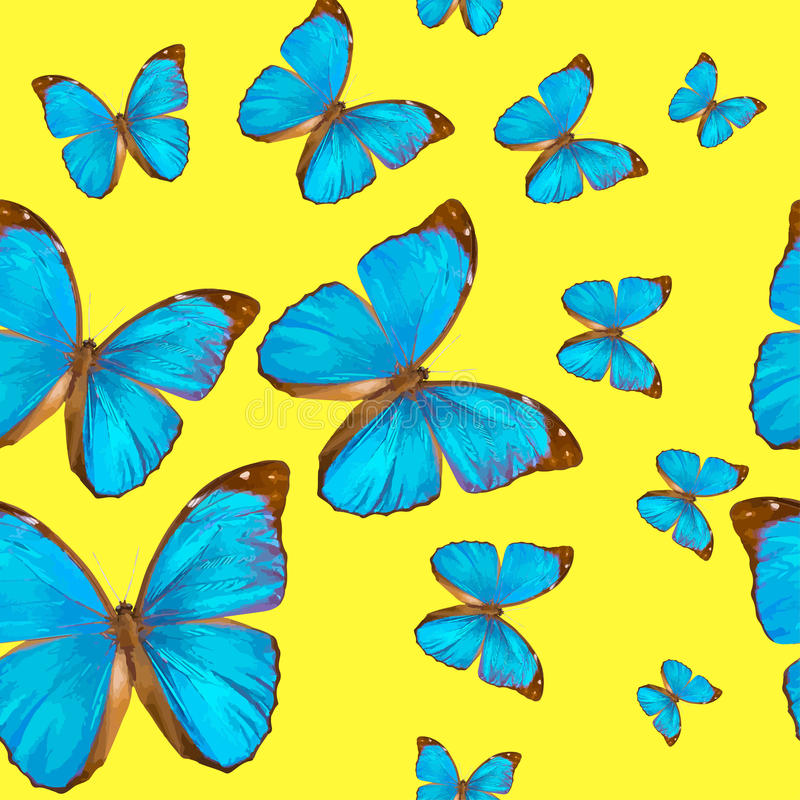 Seamless texture tropical butterflys Morpho menelaus on a yellow background stock illustration