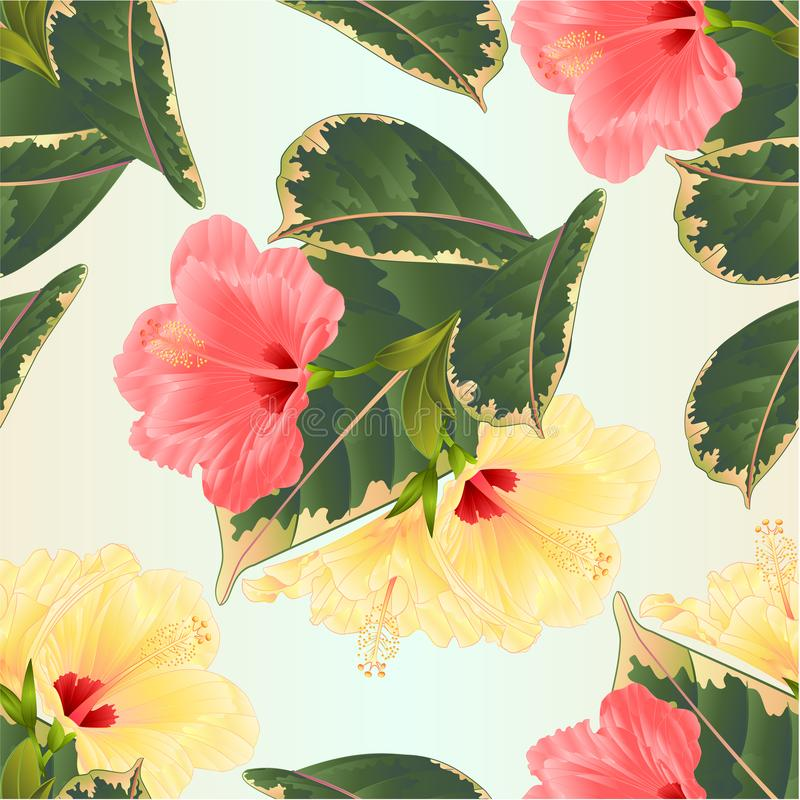 Seamless texture tropical flowers floral arrangement, with pink and yellow hibiscus and ficus natural background vintage vector royalty free illustration