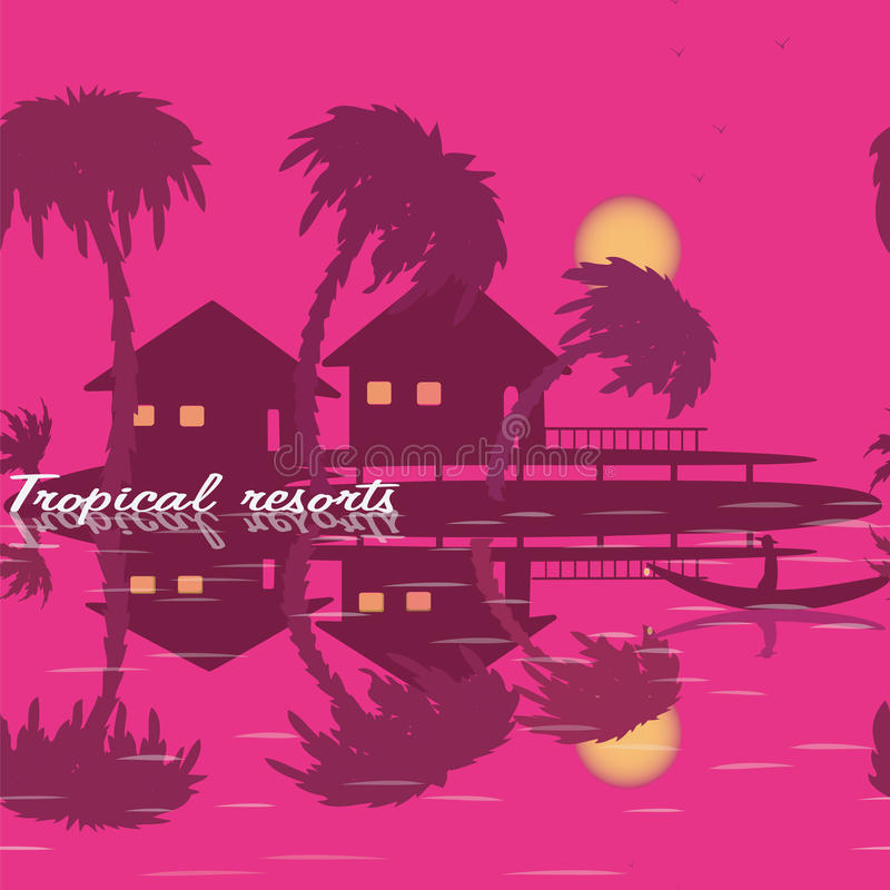 Seamless texture tropical resorts palm tree sea bungalow boat mountain stock illustration