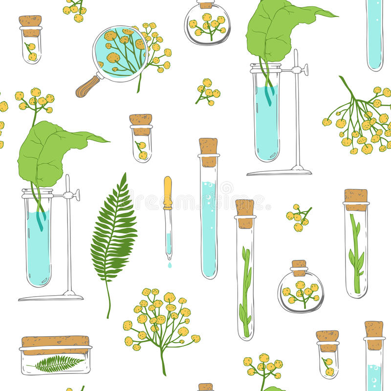 Seamless texture. Tubes and plants on white vector illustration