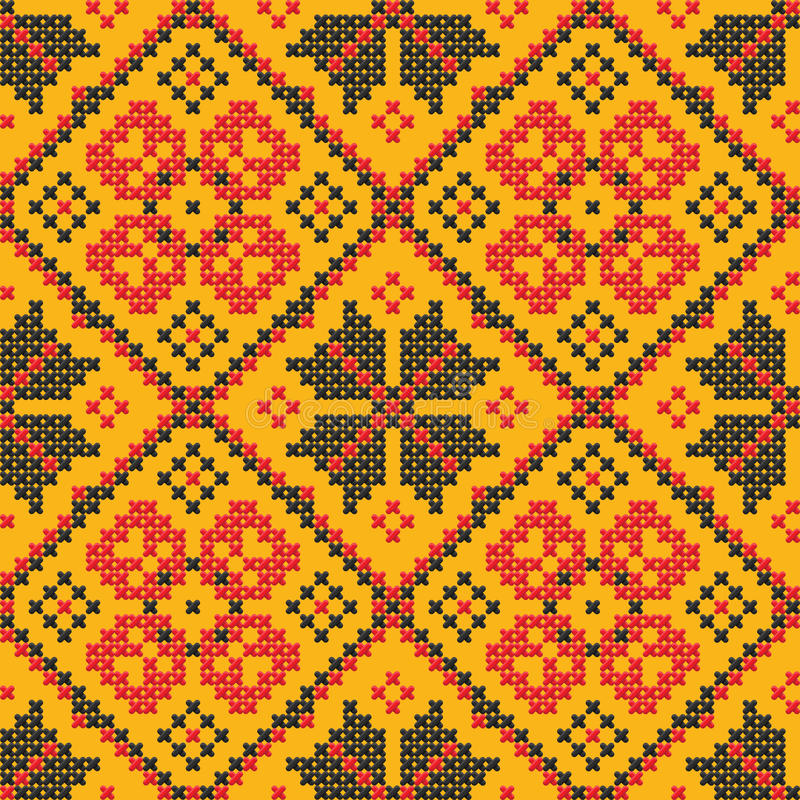 Seamless texture - Ukrainian cross-stitch ornament royalty free illustration