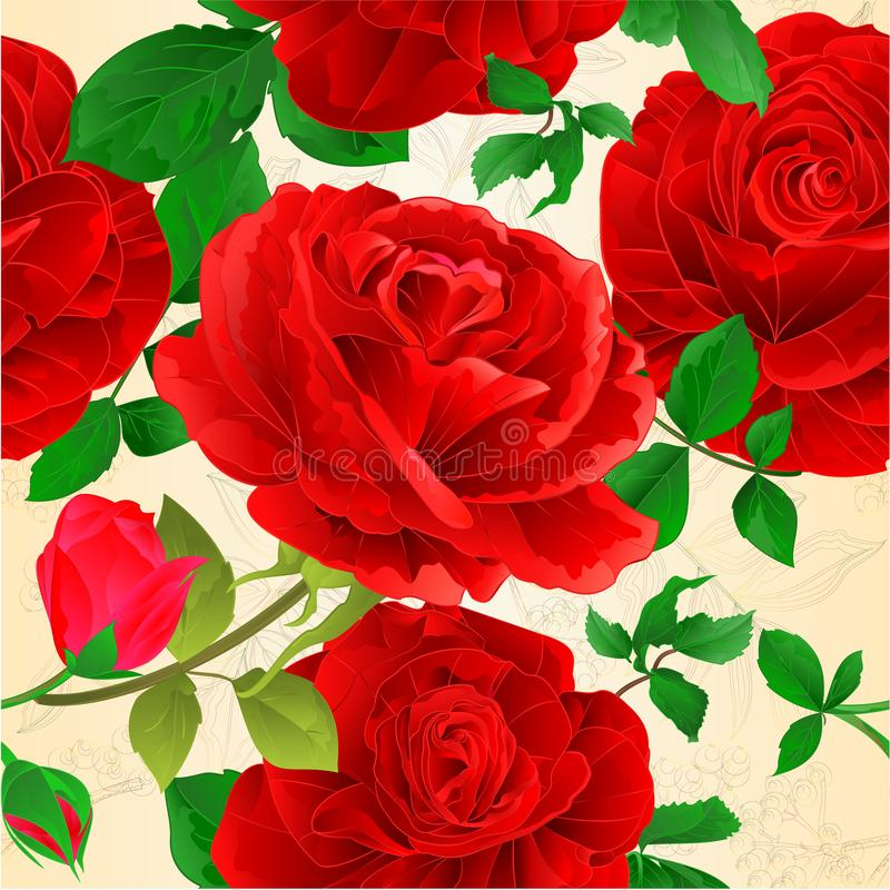 Seamless texture various red roses with buds and leaves vintage natural spring background vintage vector illustration editable royalty free illustration