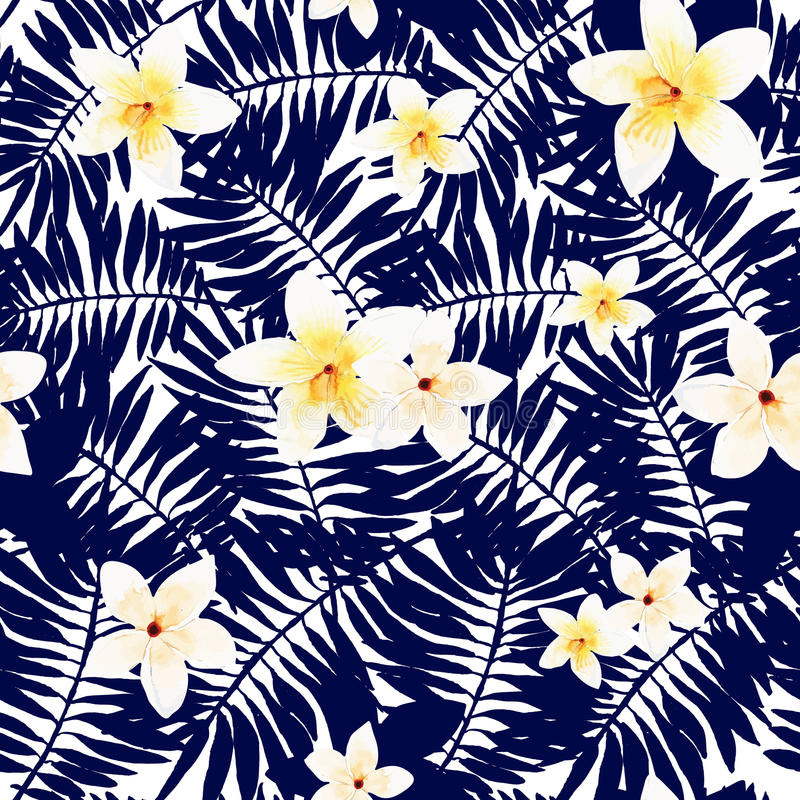 Seamless Texture. Vector illustration of floral seamless. Isolated white flowers and group black blue leaves on a white background, drawing watercolor vector illustration