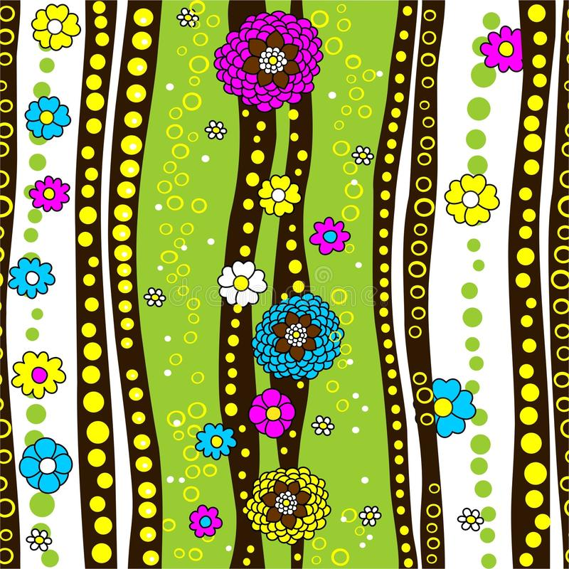 Seamless texture with flowers and stripes. Green background. Seamless texture in vector, summer pattern, billet. A colorful background of bright colors, stripes vector illustration