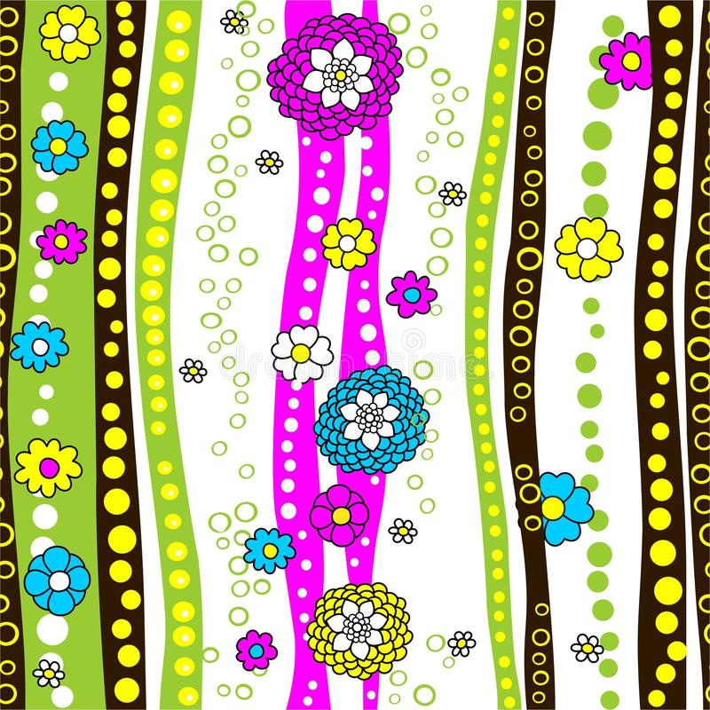 Vector, seamless texture. Strips, circles and flowers on a white background. Seamless texture in vector, summer pattern, billet. A colorful background of bright royalty free illustration