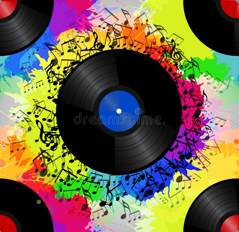 Seamless texture with a vinyl record, music notes vector illustration