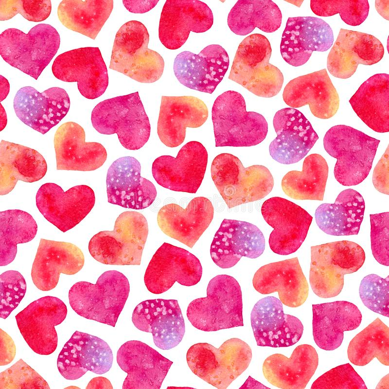 Seamless texture of watercolor hearts. Pattern of decorative hand drawn elements for valentine day and wedding design on white background stock image