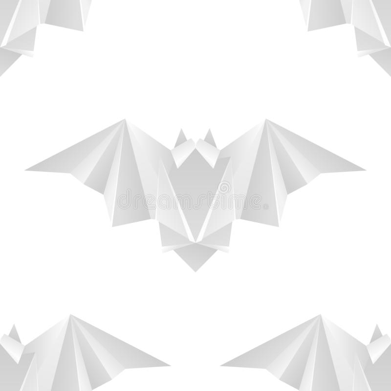 Seamless texture with white paper bats in a row. Halloween holiday. Animal origami. Paper zoo. Vector light pattern stock illustration