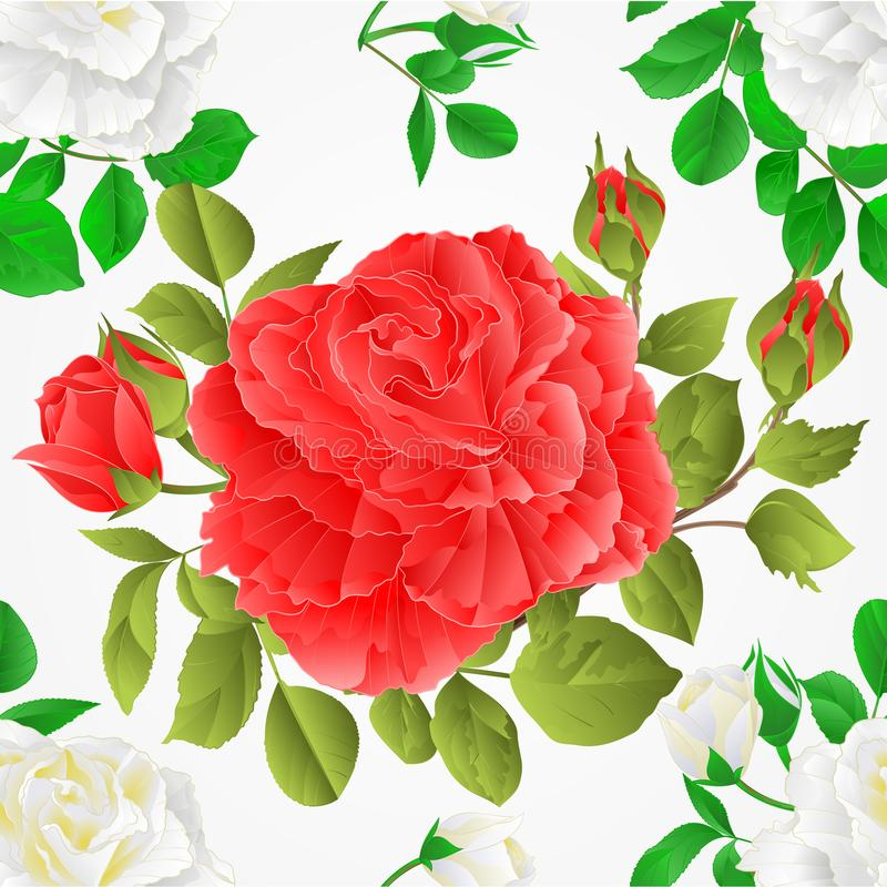 Seamless texture white and pink roses with buds and leaves vintage Festive background vector botanical illustration royalty free illustration
