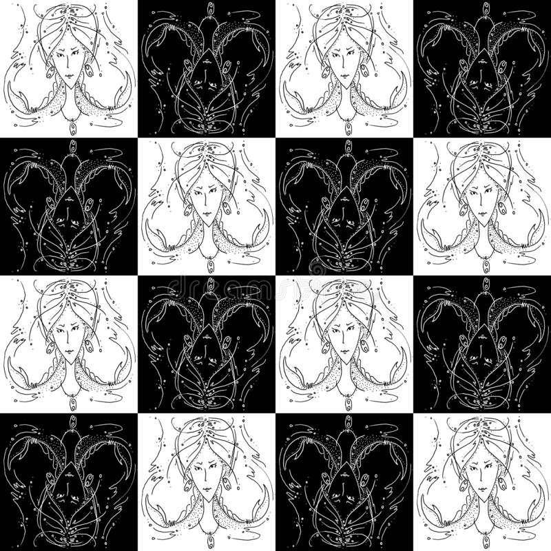 Seamless texture zodiac sign Cancer black and white drawing girl with braids in the form of claws cancer. Chess texture royalty free stock photography